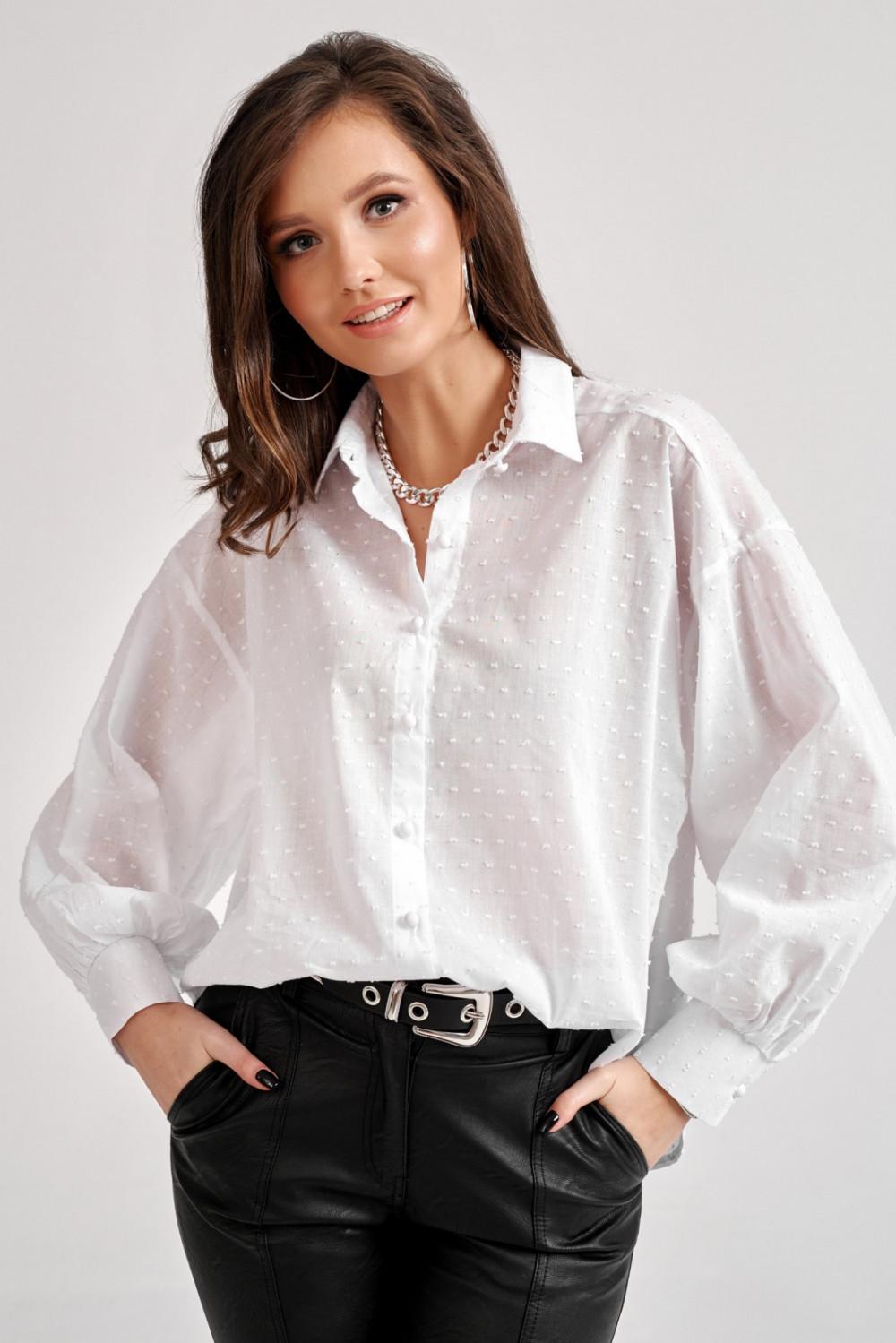 Biała bawełniana koszula oversize z haftowanymi kropkami Alex 5