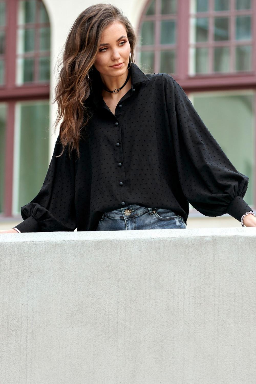 Czarna bawełniana koszula oversize z haftowanymi kropkami Alex 2