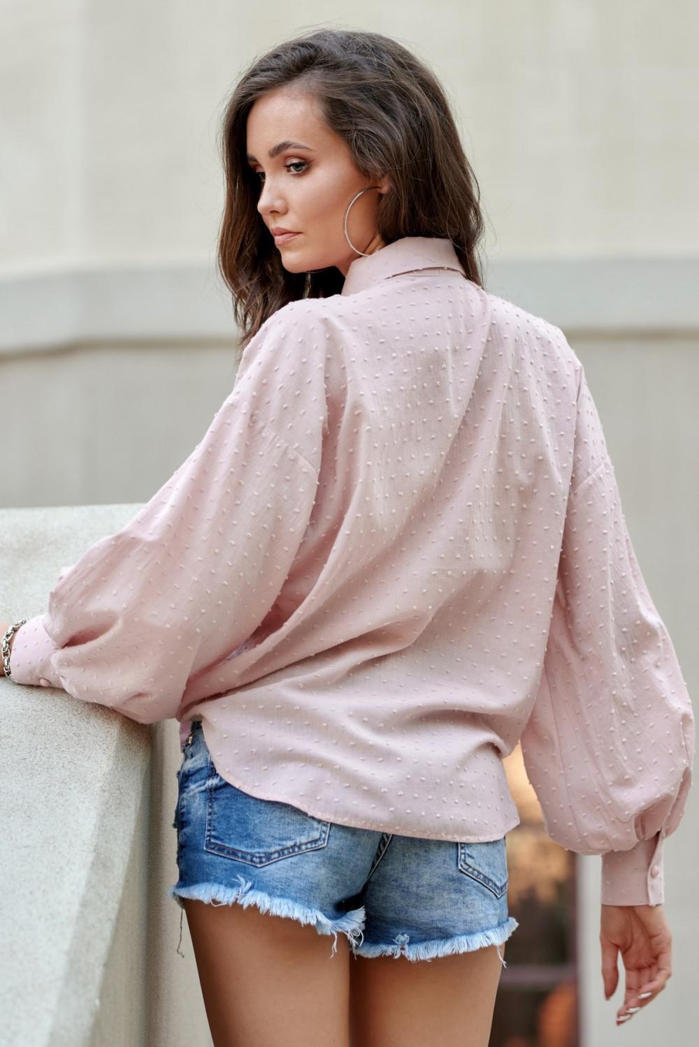 Jasnoróżowa bawełniana koszula oversize z haftowanymi kropkami Alex 3