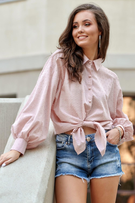 Jasnoróżowa bawełniana koszula oversize z haftowanymi kropkami Alex 1