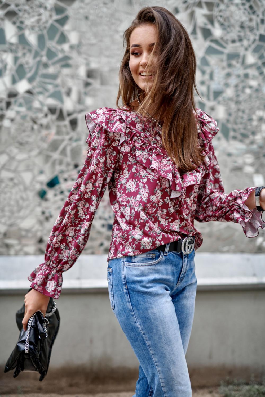 Fuksjowa kwiatowa bluzka z falbankami Alice 2