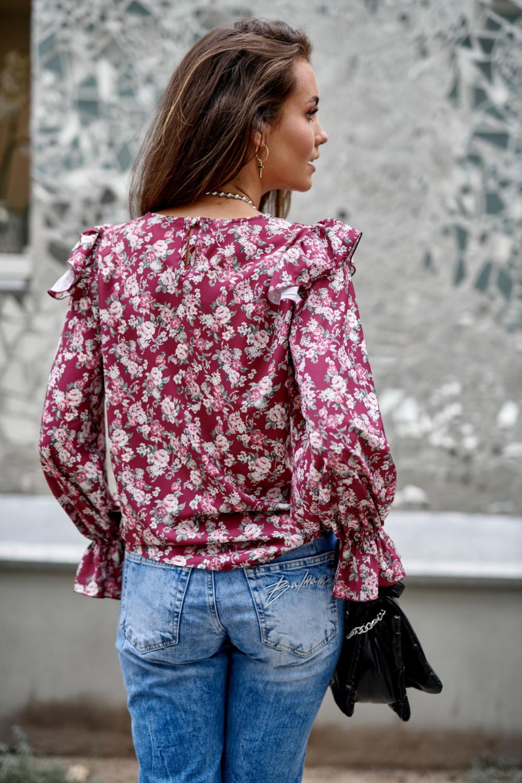 Fuksjowa kwiatowa bluzka z falbankami Alice 3