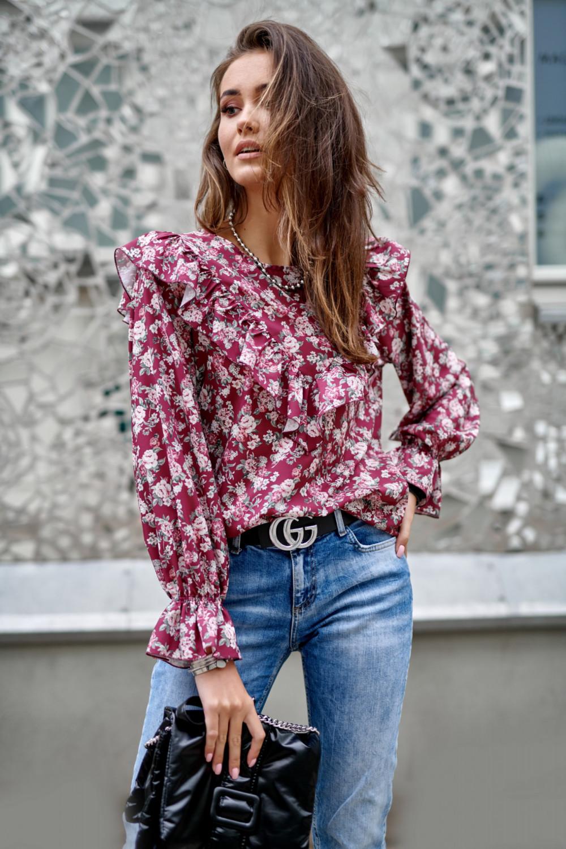 Fuksjowa kwiatowa bluzka z falbankami Alice 1