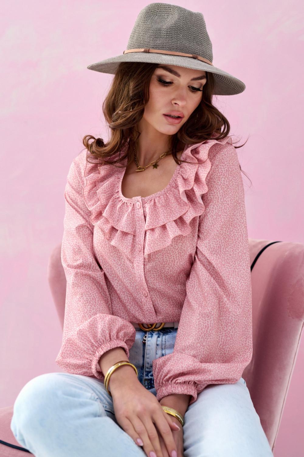 Różowa bluzka hiszpanka z falbankami w groszki Coraline 2