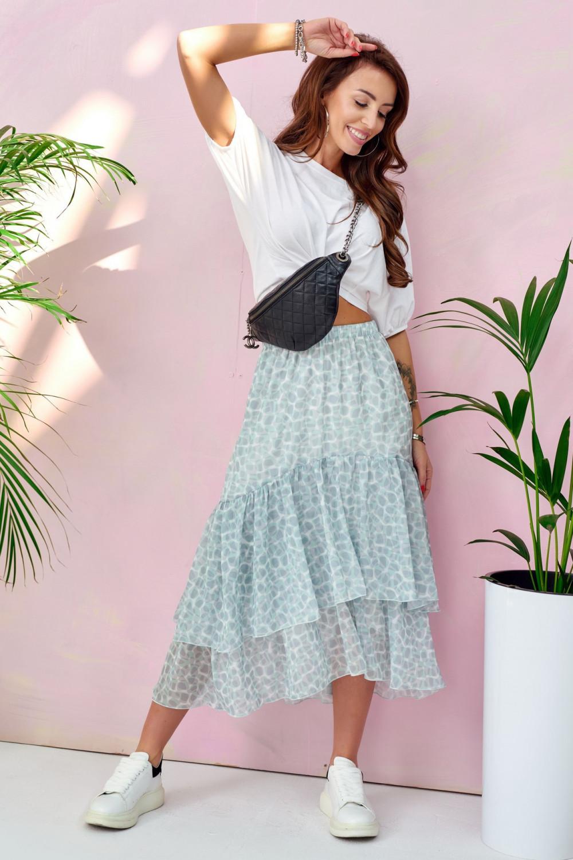Miętowa asymetryczna rozkloszowana spódnica z falbankami midi Carole 1
