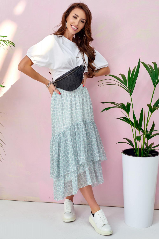 Miętowa asymetryczna rozkloszowana spódnica z falbankami midi Carole 2