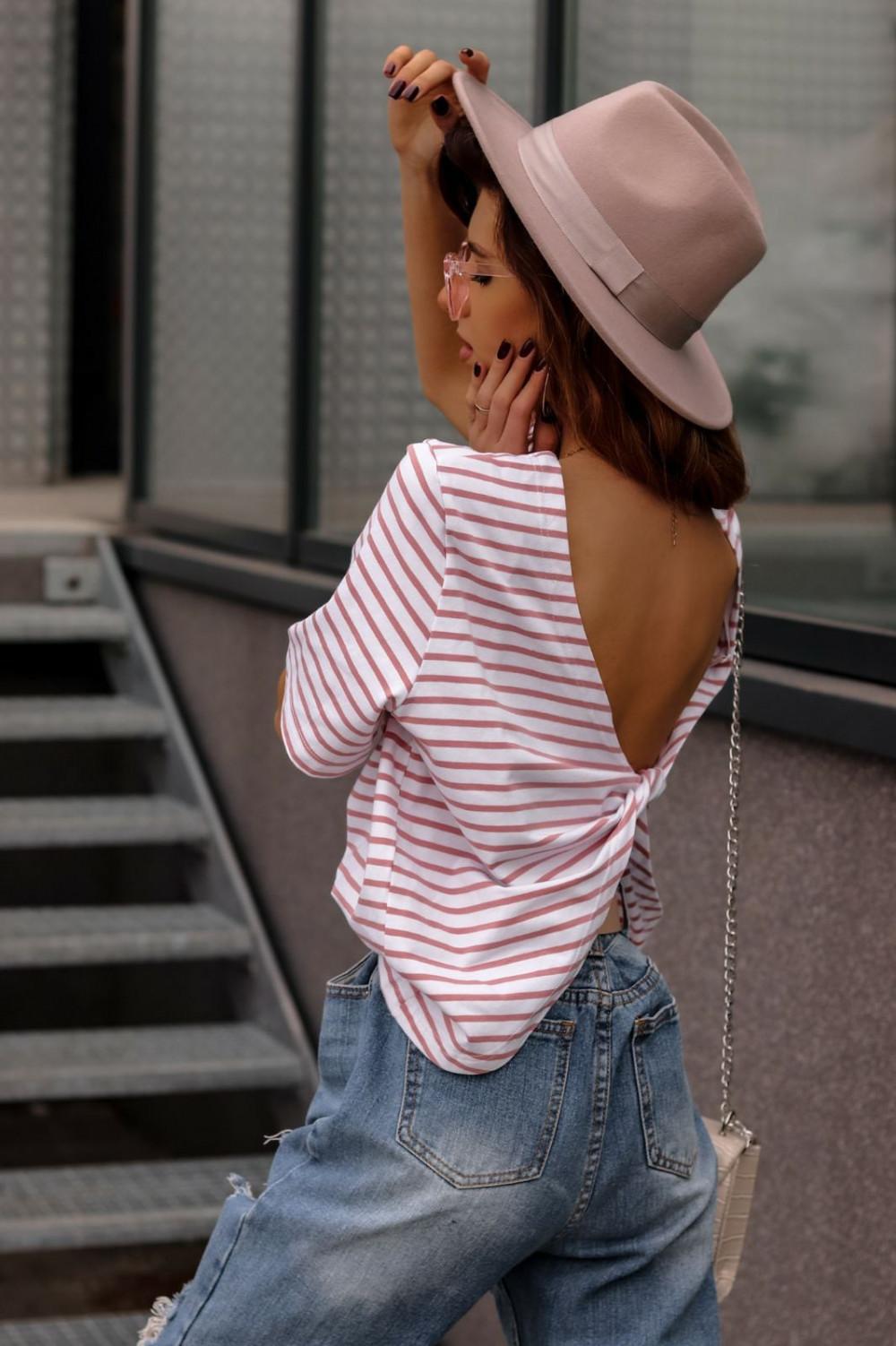 Biało-czerwony t-shirt w paski z wiązaniem na plecach Francis 1