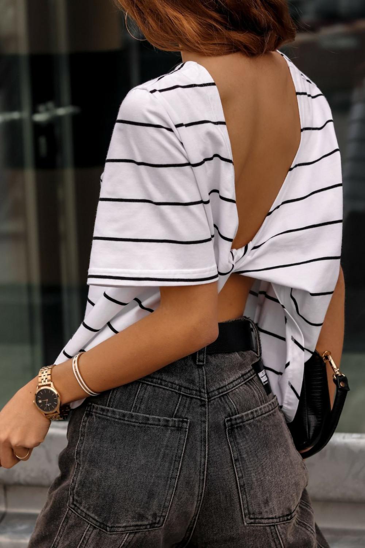 Biało-czarny t-shirt w paski z wiązaniem na plecach Francis 3