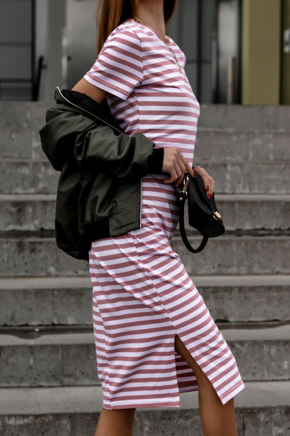 Biało-różowa sukienka w paski midi Joanne 4