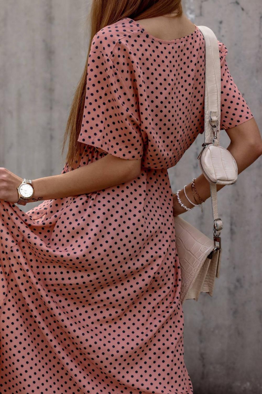 Brudno różowa sukienka w kropki maxi Anna 3