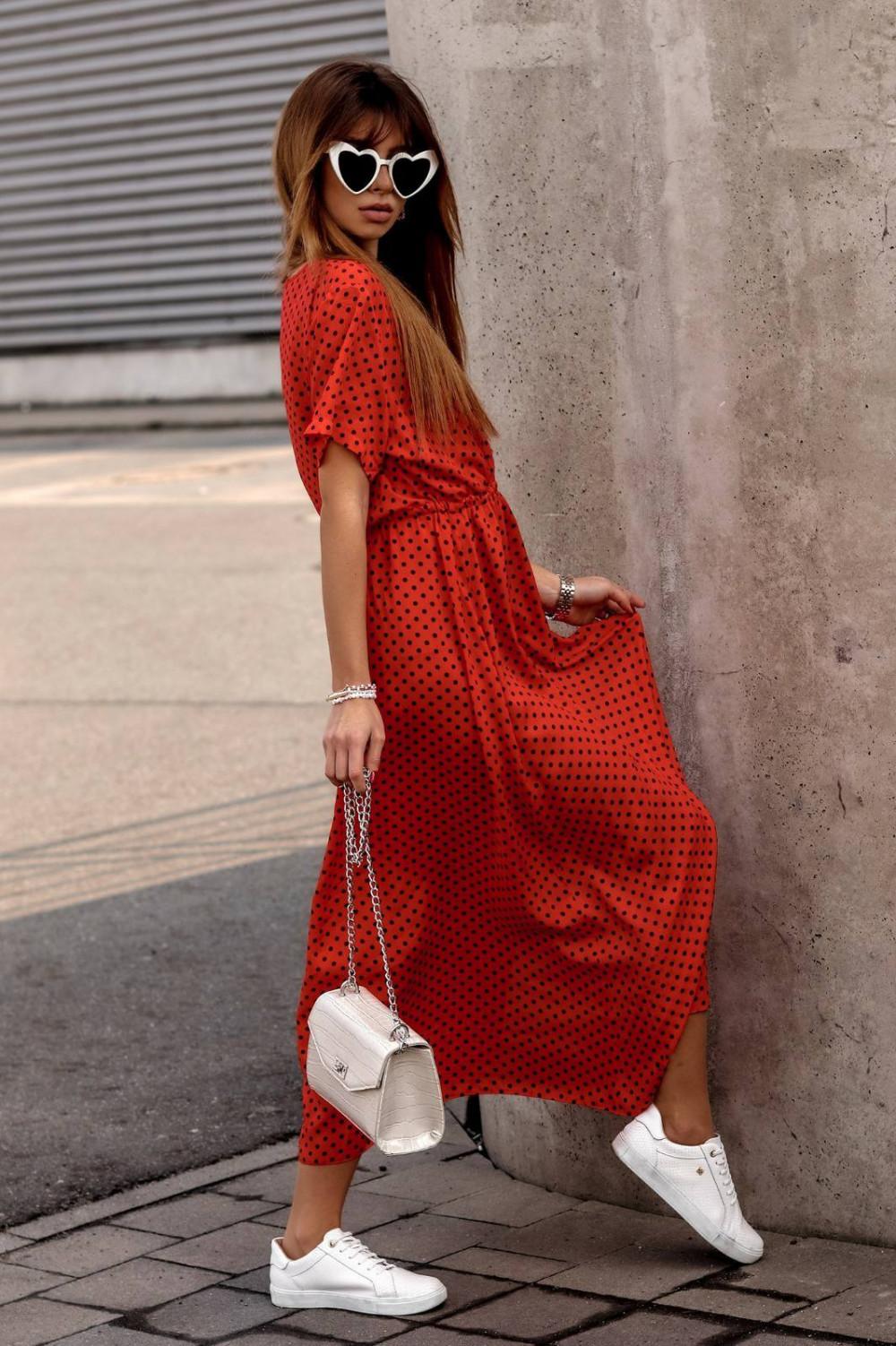 Czerwona sukienka w kropki maxi Anna 3