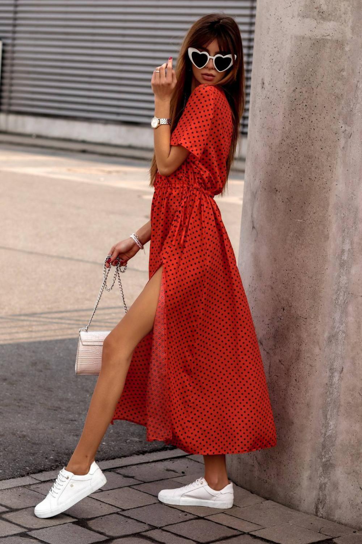 Czerwona sukienka w kropki maxi Anna 1