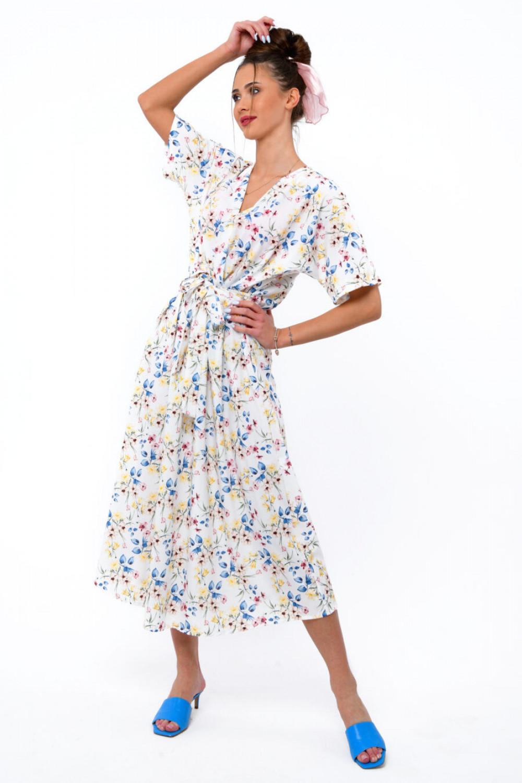 Biała kwiatowa sukienka midi V-Neck Alice 1