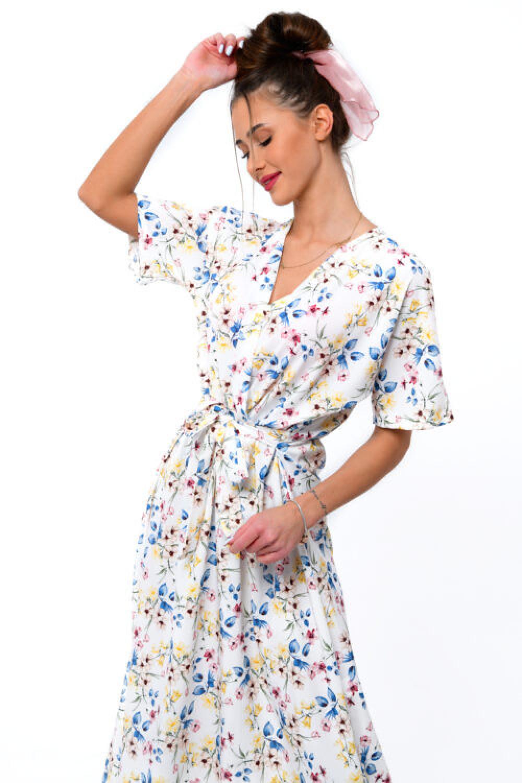 Biała kwiatowa sukienka midi V-Neck Alice 2