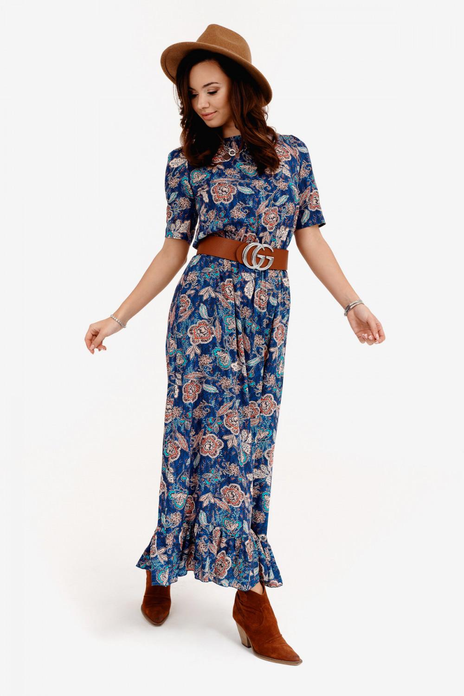 Niebieska kwiatowa sukienka maxi Camille 2