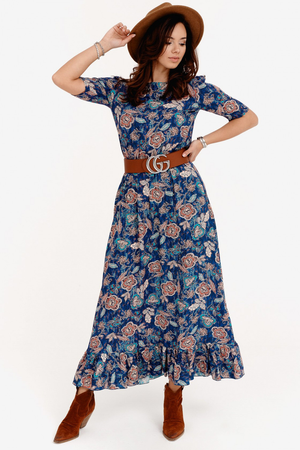Niebieska kwiatowa sukienka maxi Camille 1
