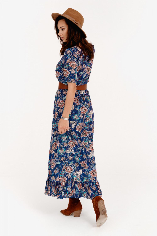 Niebieska kwiatowa sukienka maxi Camille 3