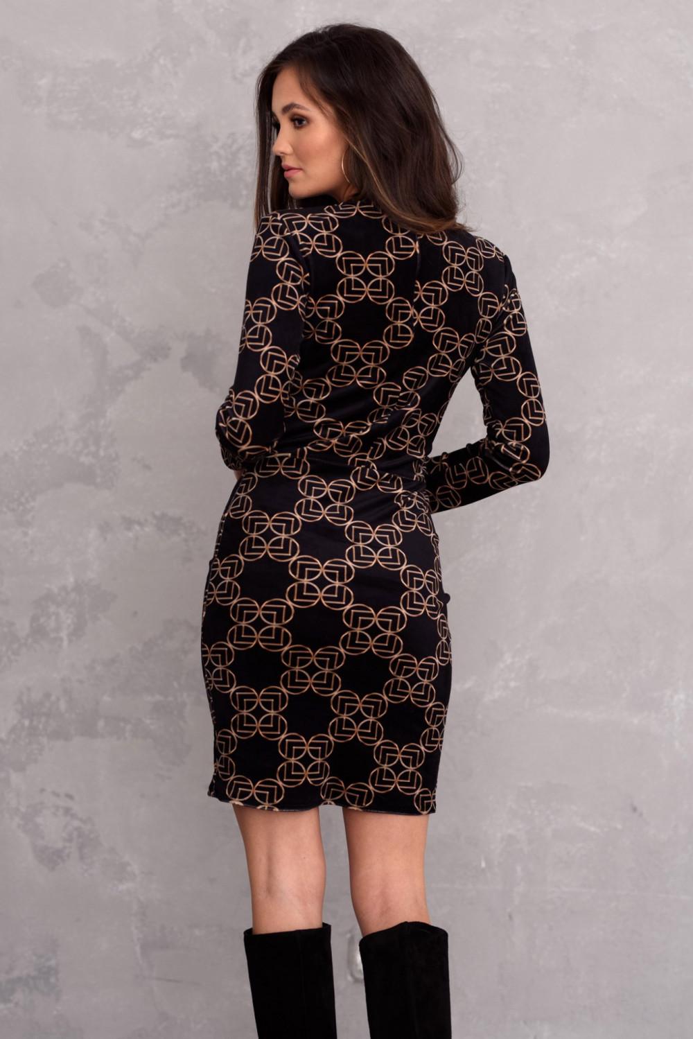 Czarna welurowa sukienka dopasowana O-Neck we wzory Claude 3