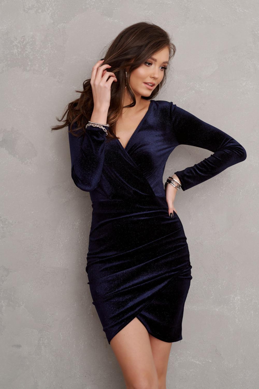 Granatowa brokatowa sukienka przekładana V-Neck Flavie 2