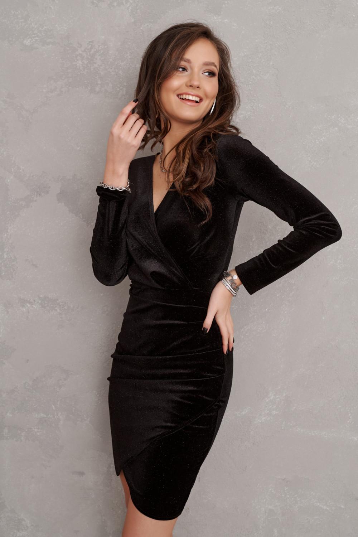 Czarna brokatowa sukienka przekładana V-Neck Flavie 2