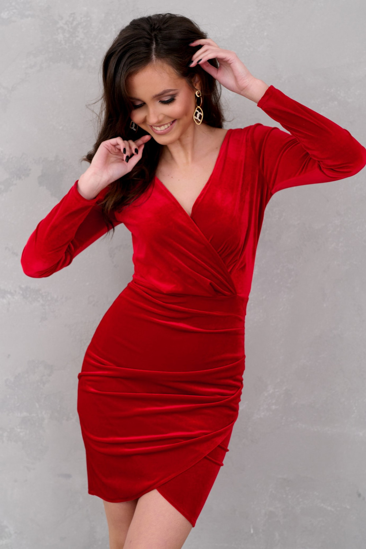 Czerwona sukienka przekładana V-Neck Doriane 2