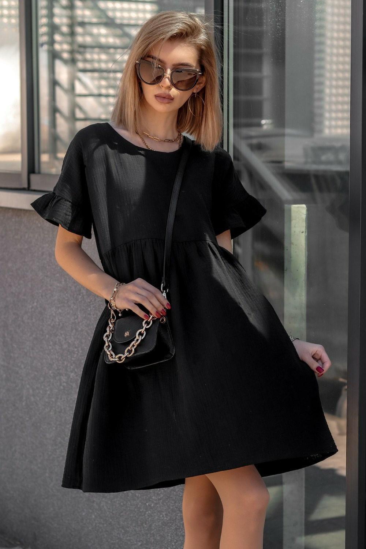 Czarna muślinowa sukienka trapezowa z falbankami Lilou 1