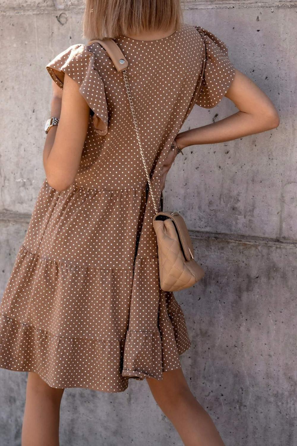 Brązowa rozkloszowana sukienka z falbankami V-Neck w groszki Lucille 2