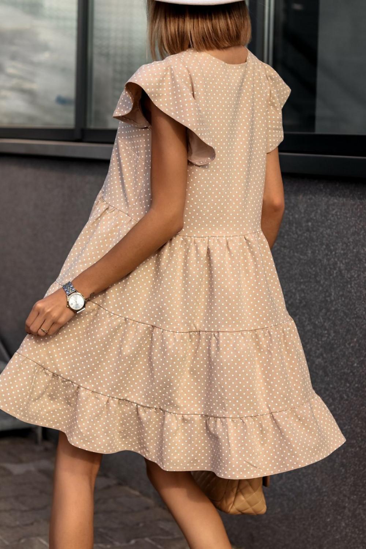 Beżowa rozkloszowana sukienka z falbankami V-Neck w groszki Lucille 2