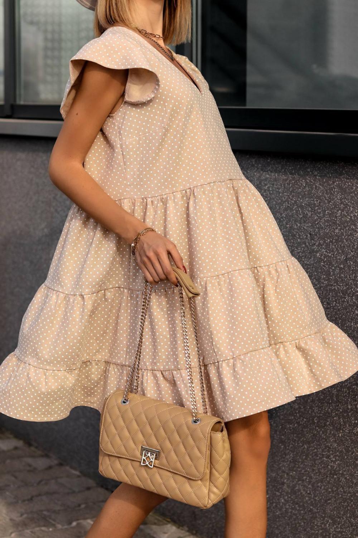 Beżowa rozkloszowana sukienka z falbankami V-Neck w groszki Lucille 1