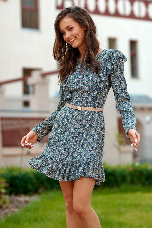 Niebieska klasyczna sukienka z falbankami we wzory Louise 2