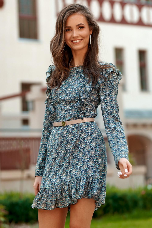 Niebieska klasyczna sukienka z falbankami we wzory Louise 1