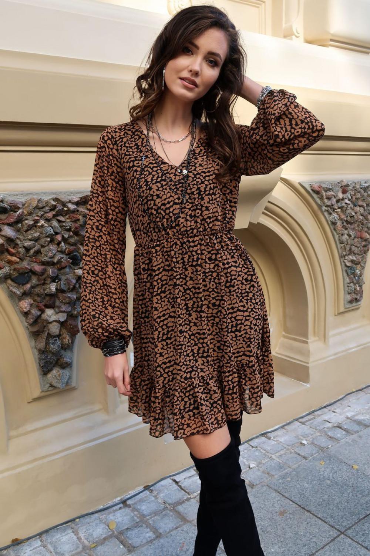 Czarno-brązowa panterkowa szyfonowa sukienka rozkloszowana z falbankami Louna 2