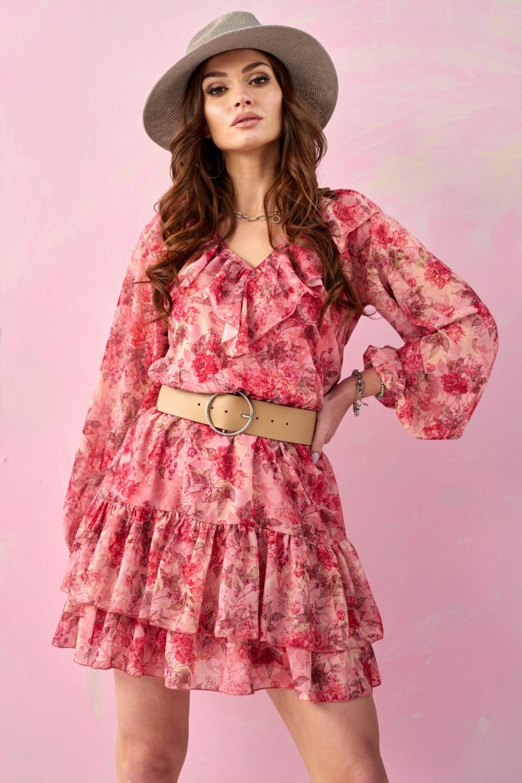 Różowa kwiatowa sukienka rozkloszowana z falbankami V-Neck Mailys 1