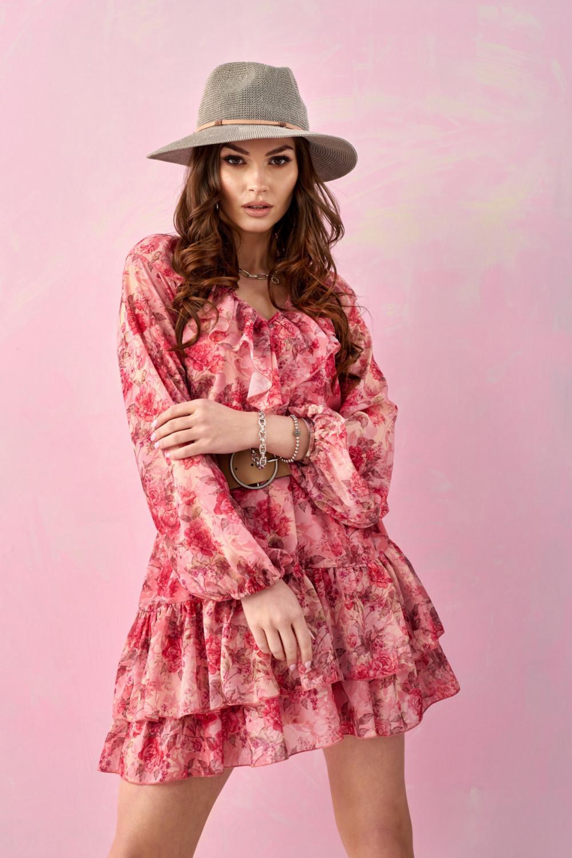 Różowa kwiatowa sukienka rozkloszowana z falbankami V-Neck Mailys 2