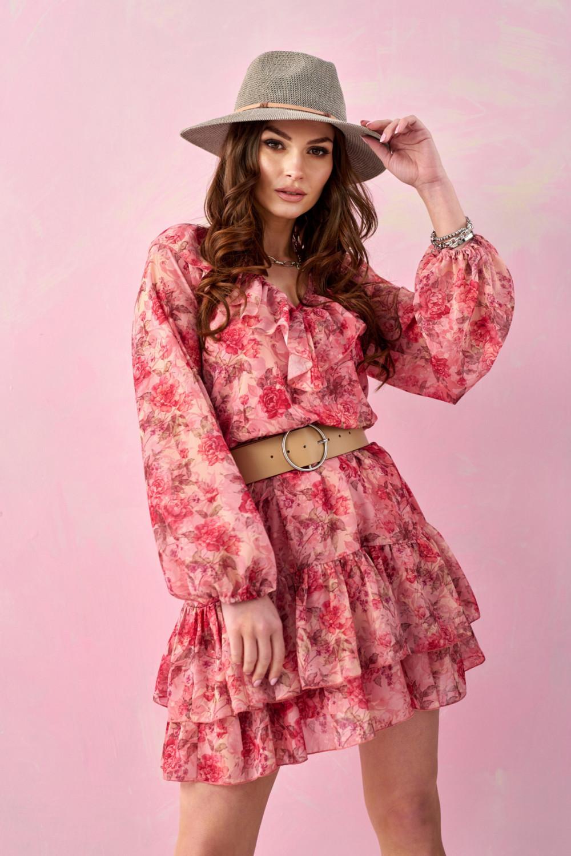 Różowa kwiatowa sukienka rozkloszowana z falbankami V-Neck Mailys 3