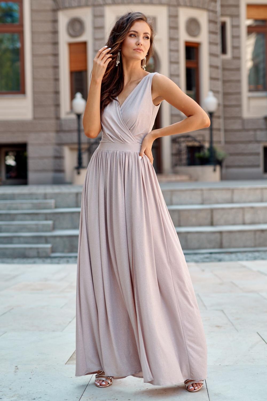 Beżowa brokatowa sukienka wieczorowa maxi Micheline 1
