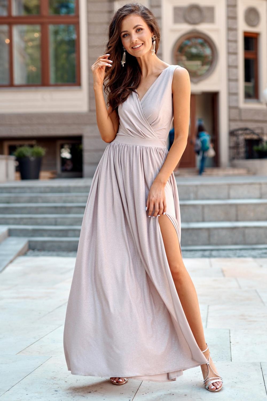 Beżowa brokatowa sukienka wieczorowa maxi Micheline 2