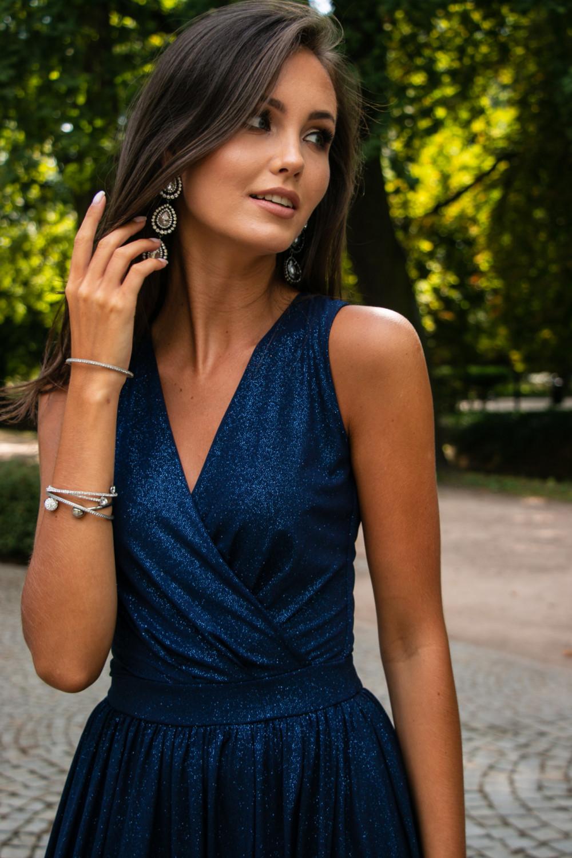 Granatowa brokatowa sukienka wieczorowa maxi Micheline 5