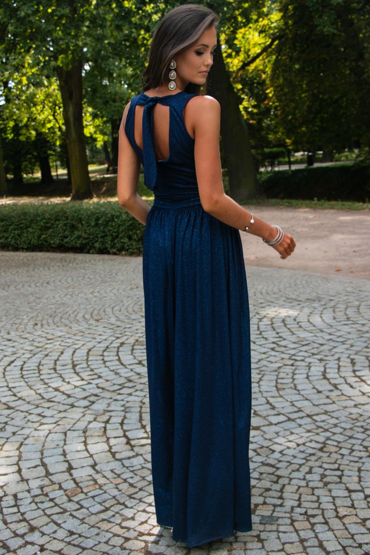 Granatowa brokatowa sukienka wieczorowa maxi Micheline 7