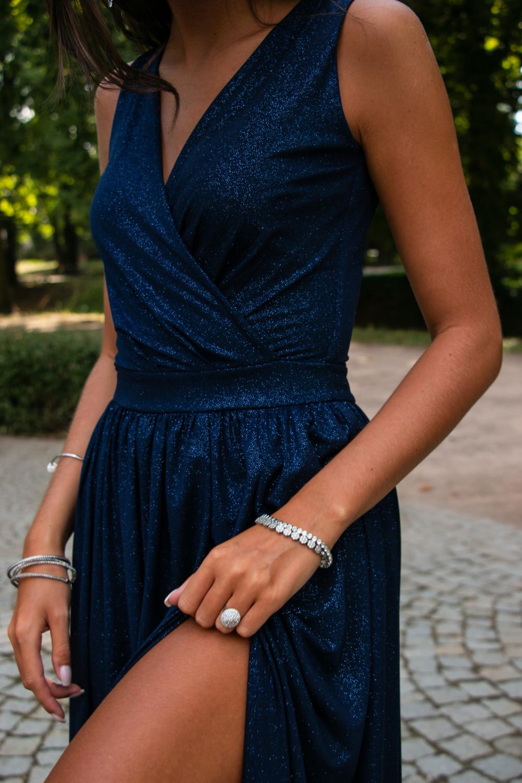 Granatowa brokatowa sukienka wieczorowa maxi Micheline 8