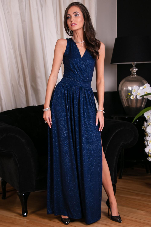 Granatowa brokatowa sukienka wieczorowa maxi Micheline 9