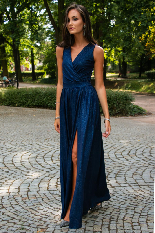 Granatowa brokatowa sukienka wieczorowa maxi Micheline 2