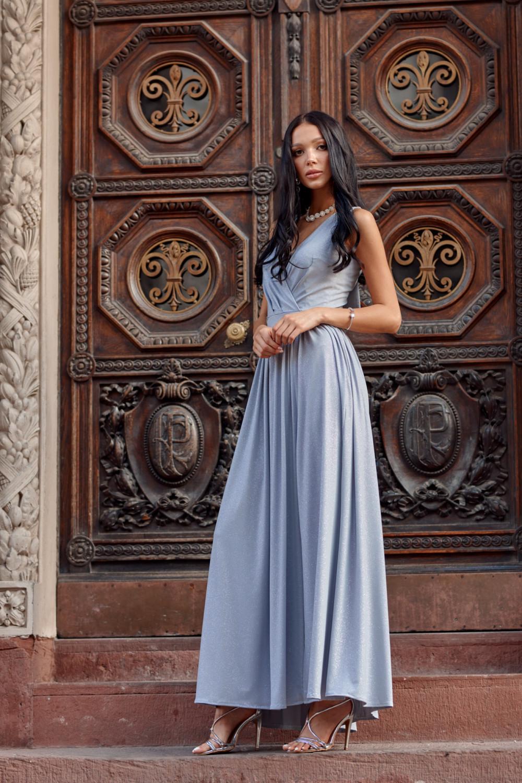 Jasnoniebieska brokatowa sukienka wieczorowa maxi Micheline 2