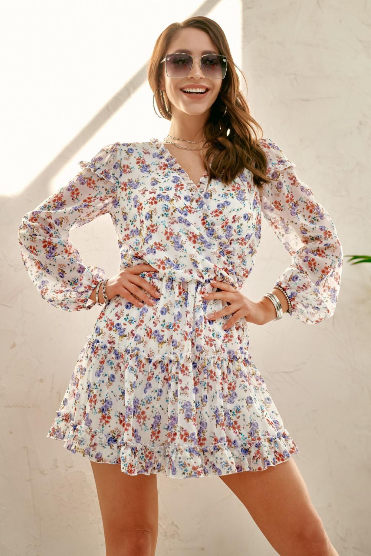 Ecru kwiatowa rozkloszowana sukienka z falbankami Narcisse 2