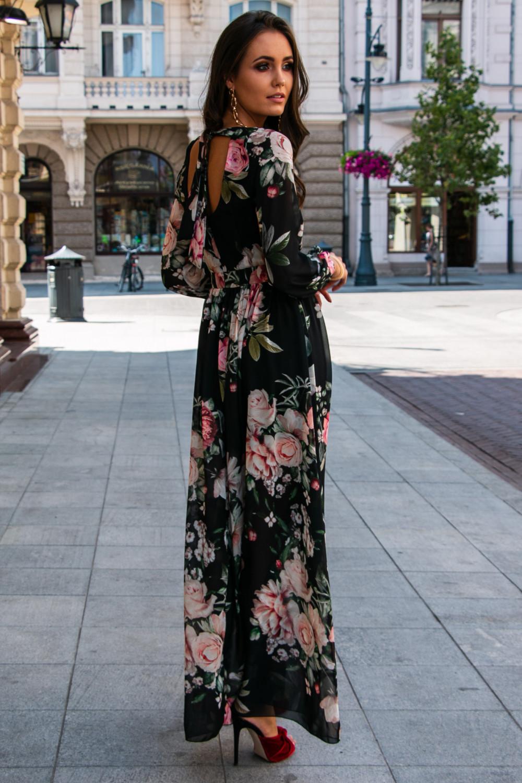 Czarna kwiatowa sukienka przekładana maxi V-Neck Ninette 3