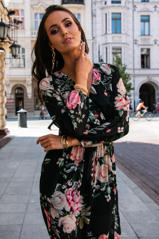Czarna kwiatowa sukienka przekładana maxi V-Neck Ninette 5
