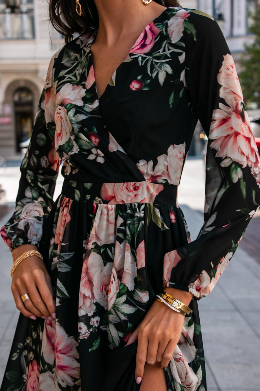 Czarna kwiatowa sukienka przekładana maxi V-Neck Ninette 6