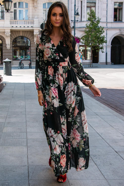 Czarna kwiatowa sukienka przekładana maxi V-Neck Ninette 1