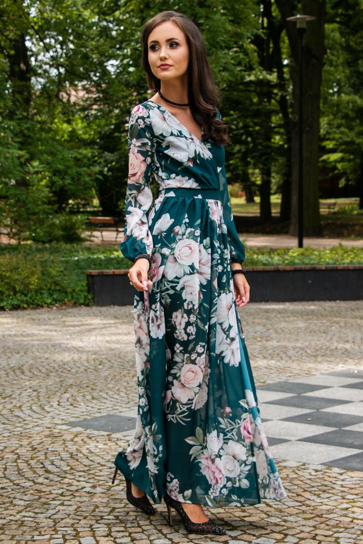 Butelkowo zielona kwiatowa sukienka przekładana maxi V-Neck Ninette 2