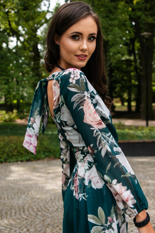 Butelkowo zielona kwiatowa sukienka przekładana maxi V-Neck Ninette 4